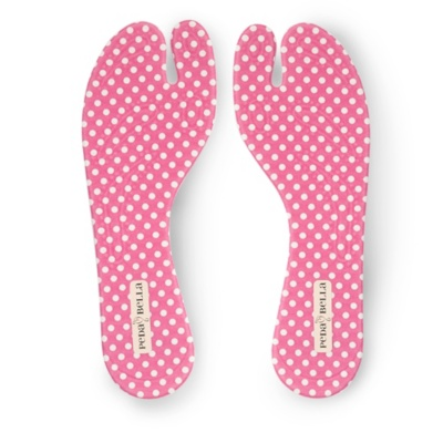 PedaBella - PedaBella Pink/White Dot Fabric Covered Gel Thong Sandal Insoles