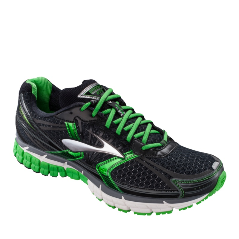Brooks Gts 14 Men's Black/Green Sneakers/Athletic Sport/Athletic Running 10 Medium Under 1 Heel Height Diabetic, Exercise, Orthotic, Stability,--Black - Green,