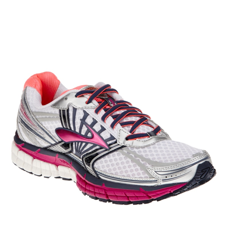 Brooks Adrenaline Gts 14 Women's White/Fuchsia Sneakers/Athletic Sport/Athletic Running 10 Wide Under 1 Heel Height Cushioning, Exercise, Orthotic,--White - Fu