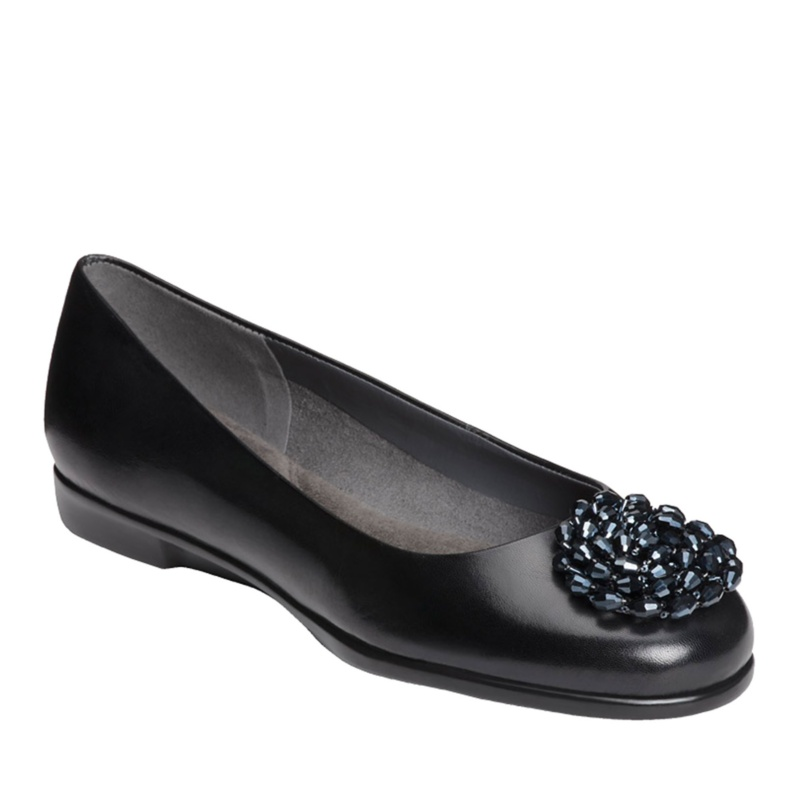 Aerosoles Becxotic Ballerina Flats - Black Leather - 6 M/B
