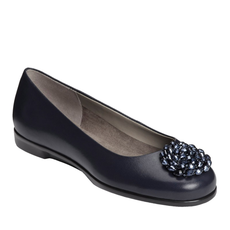 Aerosoles Becxotic Ballerina Flats - Dark Blue Leather - 9 W/C
