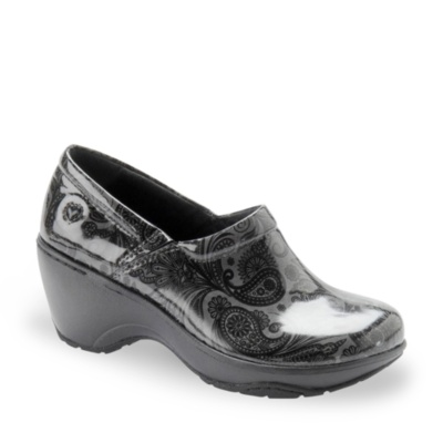 Nurse Mates bryar slip-on clog - grey black paisley