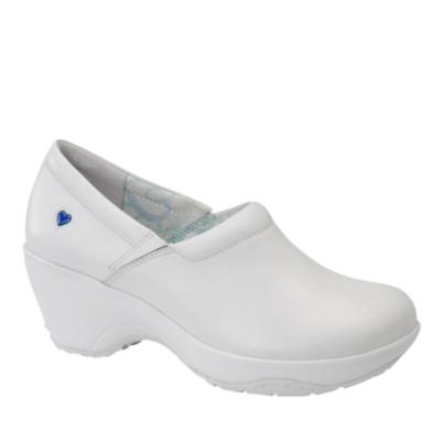 Nurse Mates Bryar Slip-On Clog Shoes (white leather)